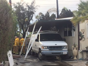 Fire Rips Though Cathedral City Mobile Home