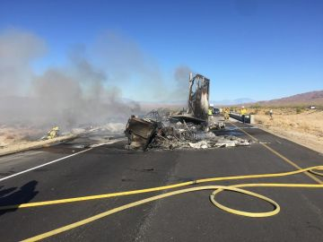 Semi-Truck Fire on Desert Freeway Blocks Lanes