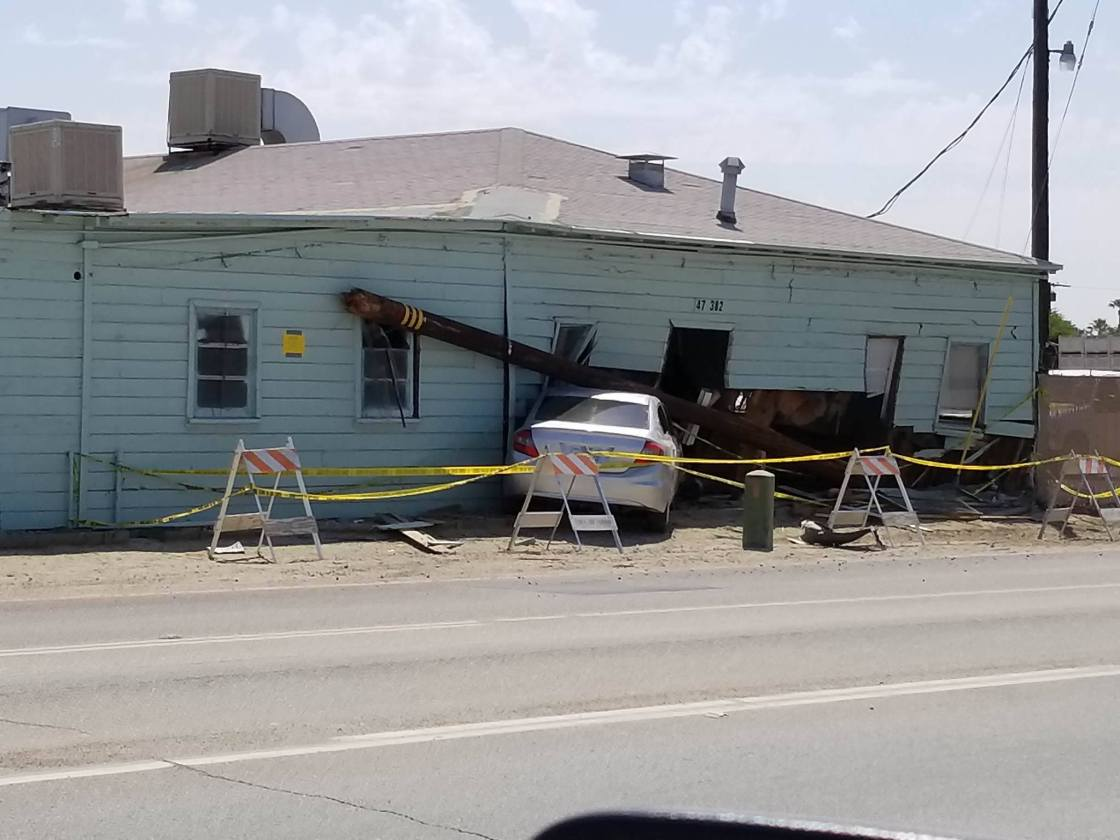 Car Crashes into Building in Indio Causing Significant Damage