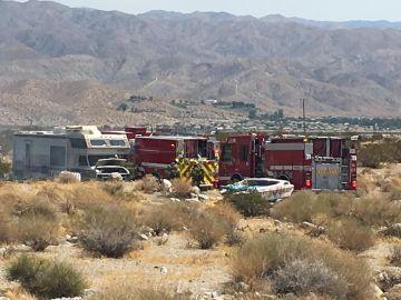 Firefighters Battle Motor Home Fire in Desert Hot Springs
