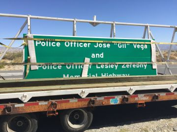 Freeway Signs Dedicated to Fallen Palm Springs Officers Installed