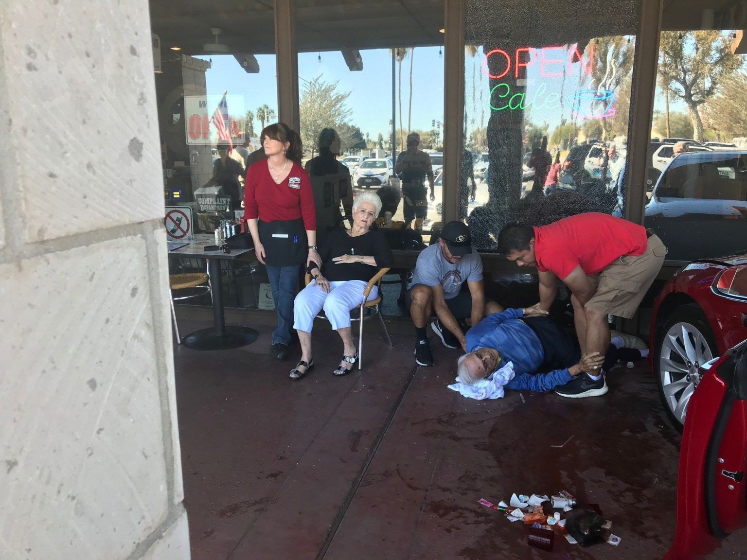 Car Crashes into Cathedral City Cafe Injuring Two Patrons