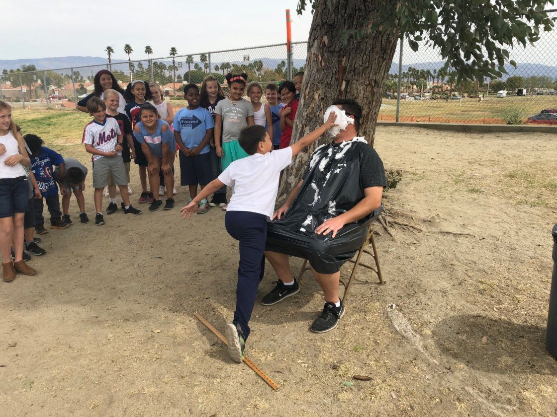 """Elementary Students Line Up to """"Pie The Principal"""" in Indian Wells"""