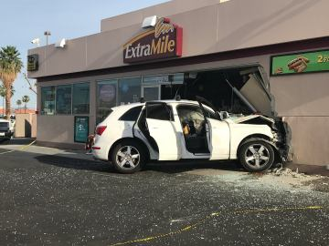 Vehicle Crashes into Thousand Palms Gas Station