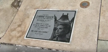 Plaque Honoring Carrie Fisher Cemented in Forecourt at Chinese Theatre