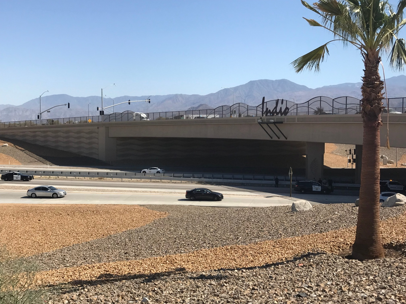 Firefighters Rescue Possible Jumper on Indio Freeway Overpass