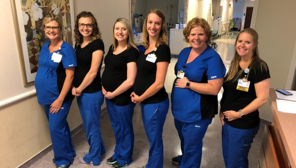 Six nurses working in the same unit at a hospital find out they're all expecting babies