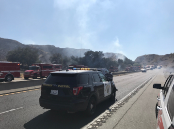 Fire Breaks out Alongside 60 Freeway near Beaumont