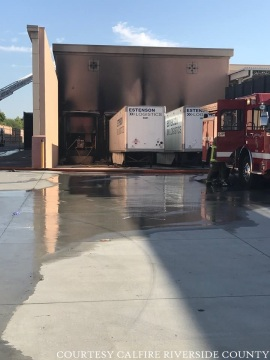 Two Semi Trucks Catch Fire in Indio Home Depot Loading Dock
