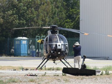 Helicopter Breaks up During Hard Landing at Riverside Municipal Airport