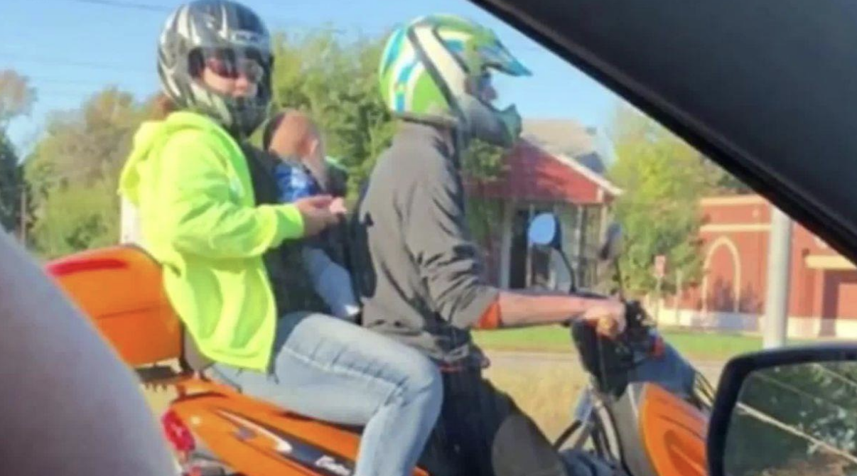 Mom and dad arrested for riding moped with 5-month-old between them