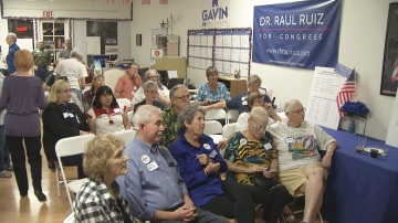 Ruiz Supporters Gather At Democratic Headquarters For Congressional Debate
