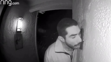 Police searching for man caught on video licking family's doorbell