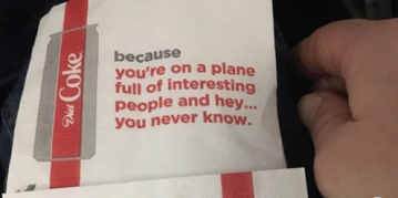 Delta pulls napkins encouraging passengers to slip their number to their 'plane crush'