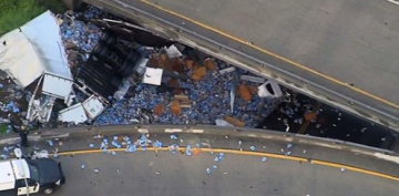 Unhappy Hour: Beer Truck Crash Spills Boxes of Modelo on Freeway Overpass
