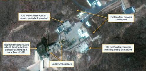 North Korea rebuilding long-range rocket site, photos show