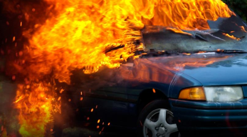 Fire Partially Consumes Car on Side of Freeway in Bermuda Dunes