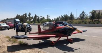 Small Plane Makes Emergency Landing on Freeway in San Bernardino
