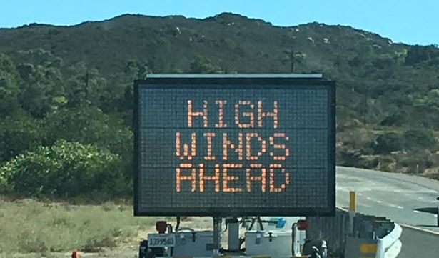 Gusty Winds Expected in Riverside County Mountains and Metro Area