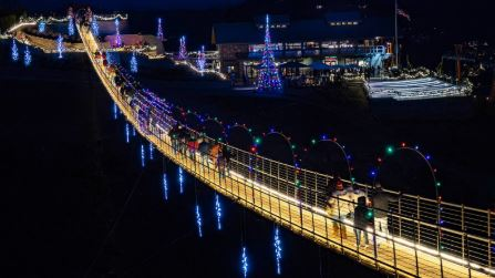 The longest pedestrian suspension bridge in North America is all lit up for the holidays