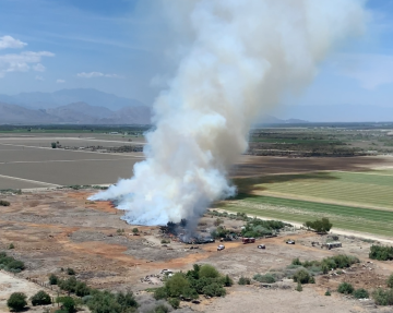 Brush Fire Burns on Tribal Lands near Thermal