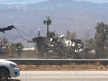 Cement Truck Overturns In Indio