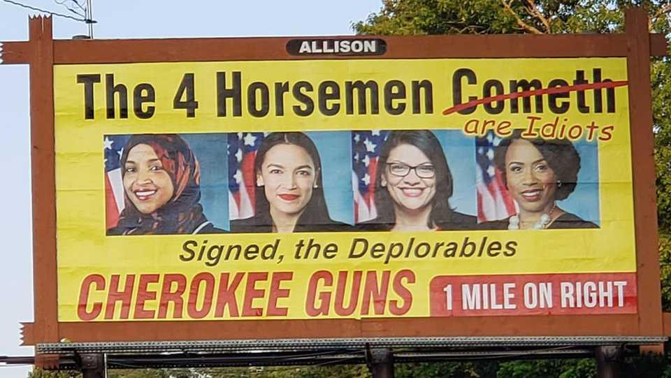 North Carolina gun shop billboard mocks 4 congresswomen, calls them 'idiots'
