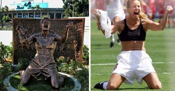 Brandi Chastain's Reaction to Scoring the World Cup Game-Winner is Immortalized in Bronze at the Rose Bowl