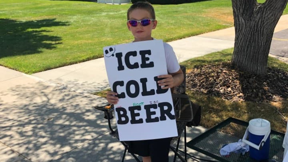Kid selling 'ICE COLD BEER' gets police attention
