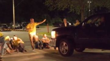 Truck drives into line of ICE protesters outside a detention facility in Rhode Island