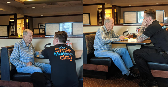 Photos of Server Sitting and Talking with 91-Year-Old Veteran Go Viral