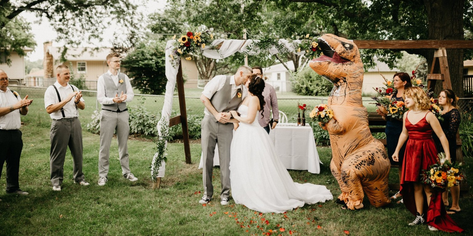 Bride told maid of honor she could wear 'anything' — so she dressed as T. rex