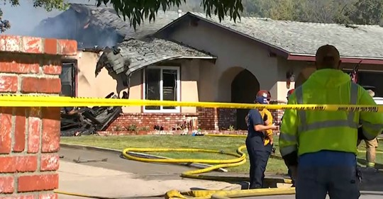 1 killed in Southern California plane crash; 3 people in home escape