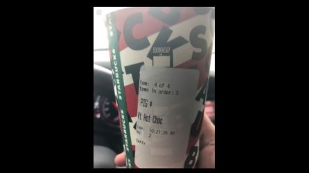 Oklahoma officer given a Starbucks order with the word 'PIG' written on the label