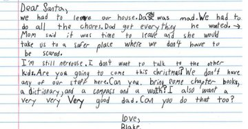 7-year-old temporarily living in a domestic violence shelter asked Santa for a 'very good dad'