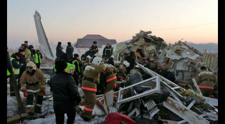 Kazakhstan flight with almost 100 onboard crashes, killing at least 12 people