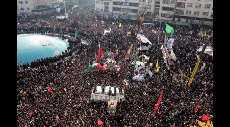 Huge crowds flood Tehran streets for Soleimani's funeral, calling for revenge and retaliation