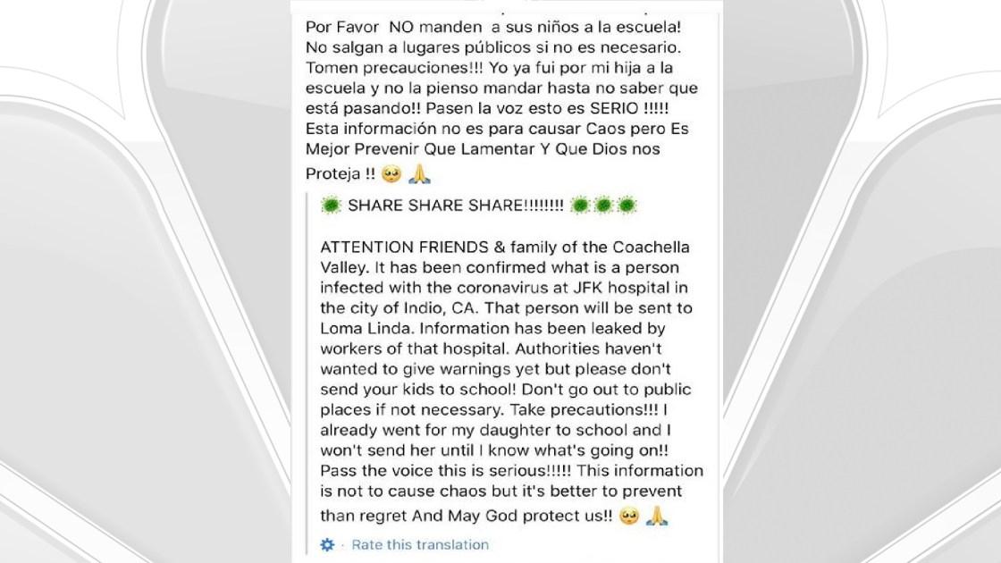 False Facebook Posts Gives Coronavirus Scare to Coachella Valley
