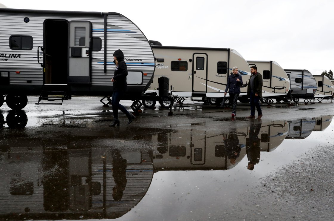 California is giving camp trailers and modular tents to cities to help the homeless