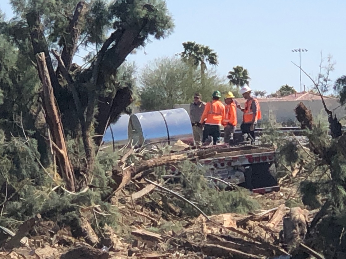 Flatbed Truck Swerves Off I-10 in Palm Desert; Destroys Trees, Spills Fuel