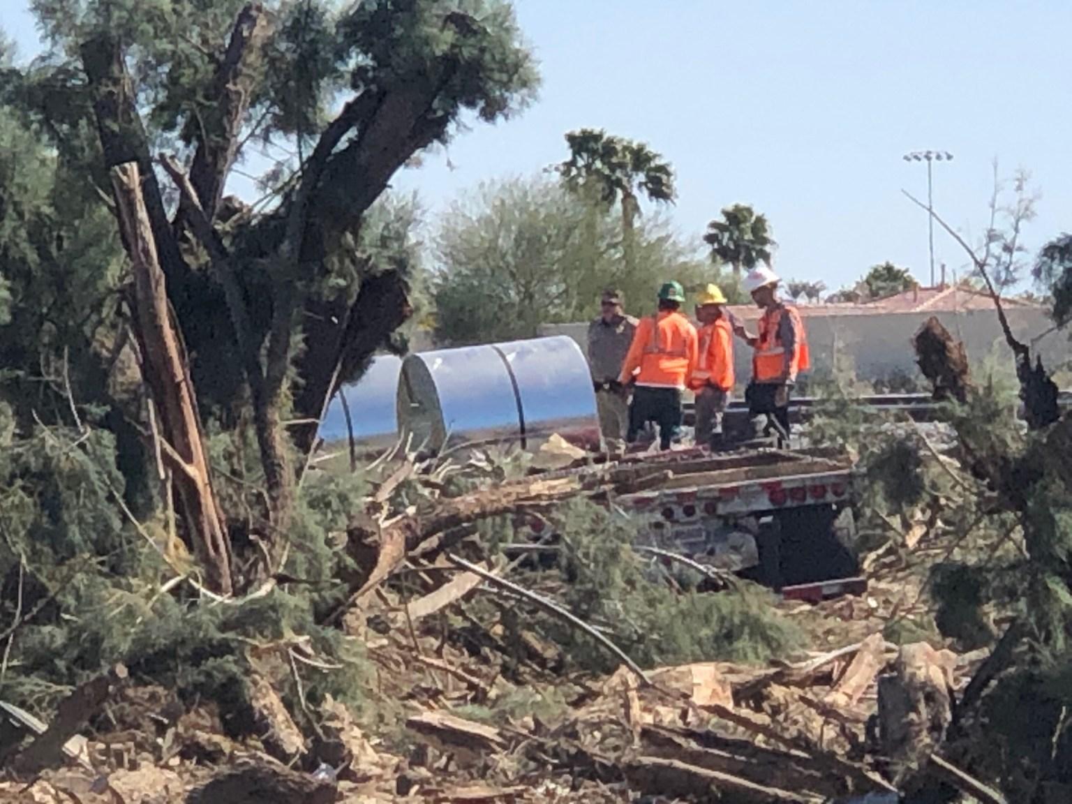 Flatbed Truck Swerves Off I-10 in Palm Desert; Destroys Trees, Spills Fuel
