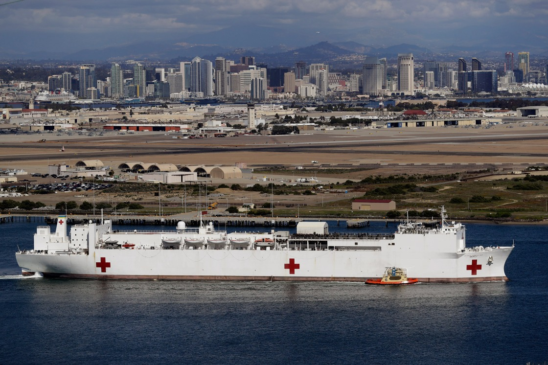 USNS Mercy Hospital Ship Arrives at Port of Los Angeles