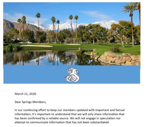 The Springs Country Club Shuts Down Community Rooms after Member Tests Positive for Coronavirus