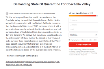 Health Care Workers Petition for Mandatory Quarantine in Coachella Valley