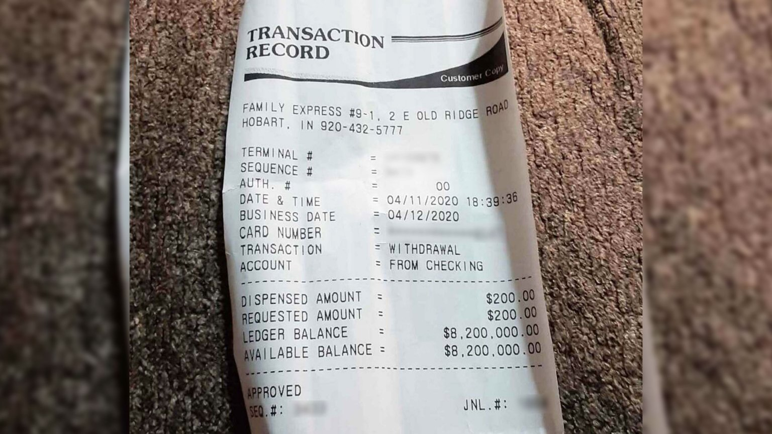 Man Withdrawals Money and Gets $8.2 Million Receipt