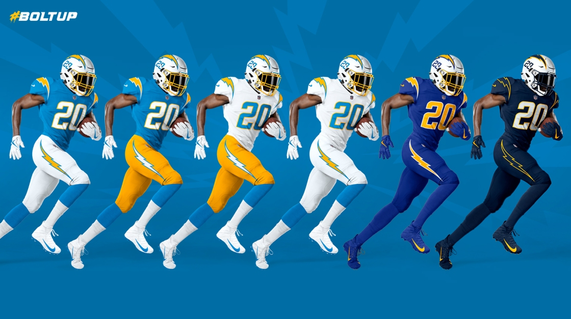 L.A. Chargers Unveil New Uniforms for 2020