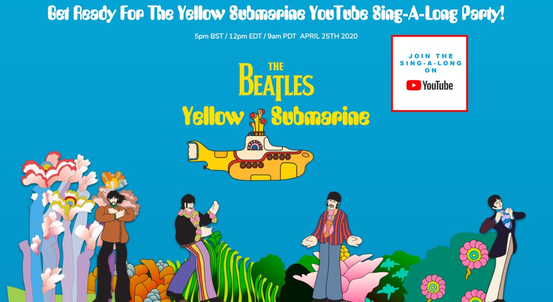 The Beatles will stream their animated film 'Yellow Submarine' Saturday