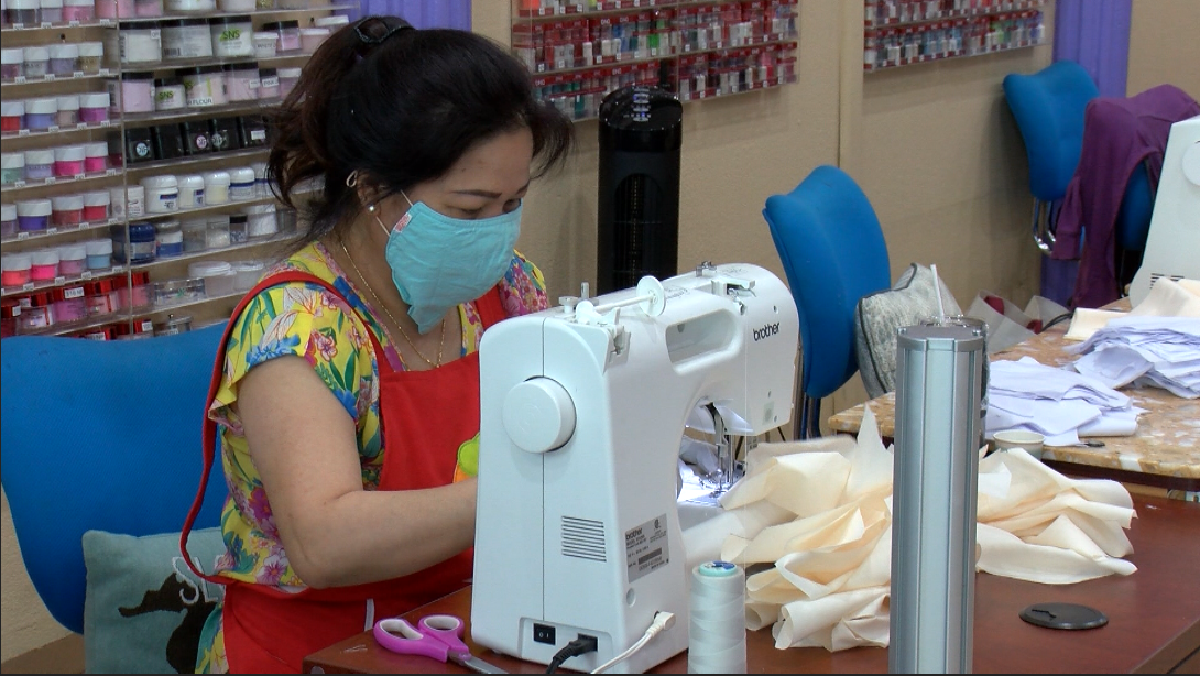 With Business Sinking, Nail Salon turns to Face-Mask Making