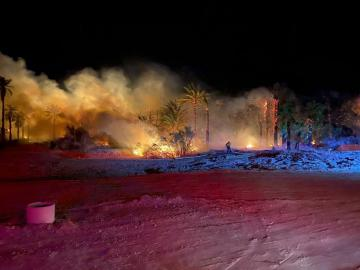 Fire Burning in Mecca Scorches Five Acres