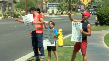 Locals Hold Anti-Mask Protest in Cathedral City